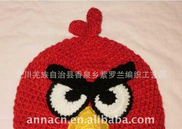 纯手工编织宝宝帽子 欧版愤怒小鸟儿童帽子 婴儿帽子