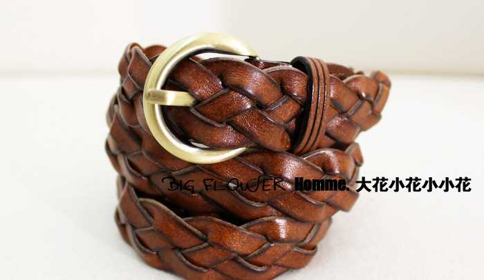 【大花小花小小花】林弯弯 CLOT 余文乐 棕色编织 复古铜色扣皮