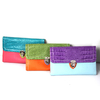 供应鳄鱼纹拼接撞色车缝线搭扣钱包搭配色多卡位品牌女钱包