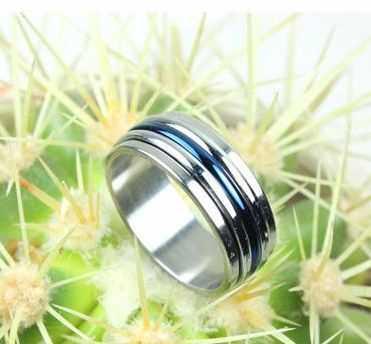 韩版戒指 时来运转 男士双色钛钢戒指