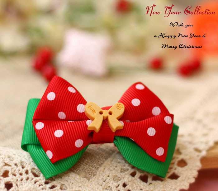 【2602】大撞色-圣诞节日韩版儿童纯手工发饰大蝴蝶结发夹