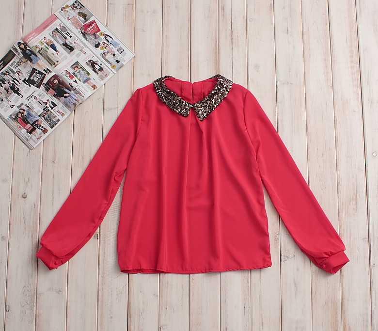 免费加盟日韩时尚女装2012春季新款衬衫 长袖雪纺衫衬衫韩版