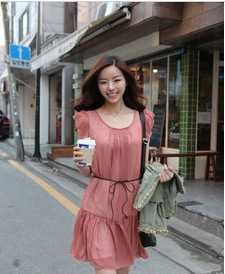 供应3149616韩版女装 短袖雪纺连衣裙 服装服饰代理加盟 加盟