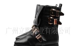 亚历山大/王黄金搭扣皮带侧拉链休闲平底短靴女靴子外贸鞋910-3