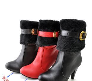 皮带扣高跟靴子厚毛里可翻靴筒两穿气质女靴毛毛靴大码SQM 625