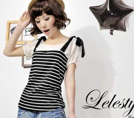 供应D16072条纹打底衫 女装代理 服饰加盟 网店代销代发货