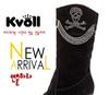 批发供应KVOLL韩版时尚粗跟镶钻淑女圆头舒适堡暖中筒女靴