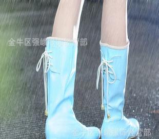 2011秋冬新款 时尚休闲PU漆皮网纱内里高筒雨靴女靴 一件代发
