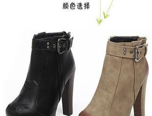 秋冬裸靴 方头 擦色 性感诱惑 2011最新时尚高跟短靴 防水台 粗跟