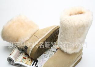 欧蔓莎 惠东鞋业 秋冬真牛皮雪地靴平底短靴冬靴女靴子6688