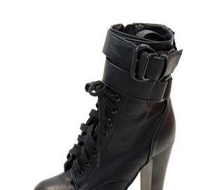 【少量现货】韩版交叉绑带绕脚粗跟高跟中筒靴子1709-8美