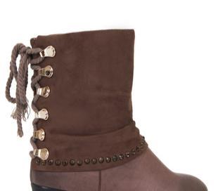 驼色X11M22482甜美可爱俏丽后绑带水钻保暖中跟短靴女靴子