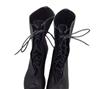 广州女鞋 女鞋批发 中筒女靴 黑色流行靴 鱼嘴系带 港星3326-1