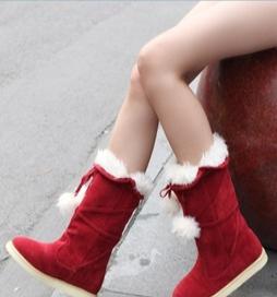 供应可爱毛毛球平跟圆头中筒雪地靴 时尚女式原单秋冬保暖棉靴