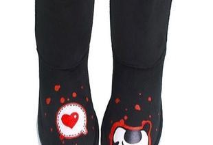 2011新款热销 手绘猫吃鱼雪地靴 棉鞋 中筒雪地靴 冬款鞋代理