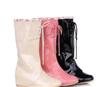 11新款韩版女雨鞋漆皮前系带女靴雨靴内增高中筒靴大码女靴