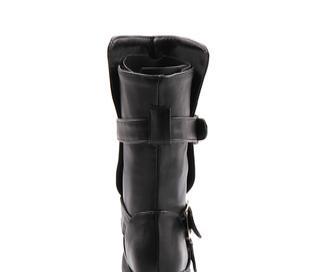 供应低筒短毛绒内里素面皮带扣骑士女棉靴女靴F172
