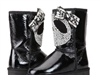 新品漆皮羊皮毛一体松糕厚底 雪地靴 熊猫水钻中筒靴 女靴子