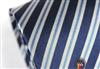 三变钱塘 商务正装领带 电脑色织男士真丝领带 银质灰蓝条纹领带
