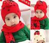 瓢虫帽子/甲壳虫帽 帽子围巾两件套