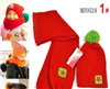 韩版五星贴标毛线儿童帽+围巾二件套  批发 M1650