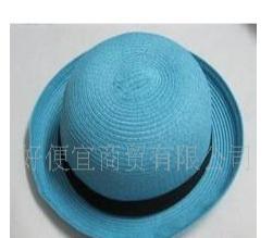 韩国百搭短檐圆顶帽 草编礼帽 可翻边造型爵士帽子批发——001046