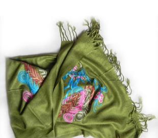 【七彩绣长巾C】围巾帽子 羊毛围巾 针织围巾