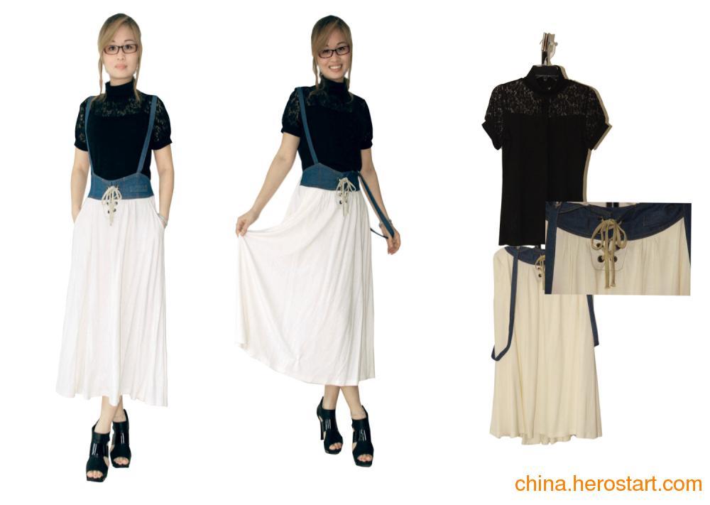 供应高雅堆领针织蕾丝衫,牛仔针织百搭背带裙