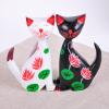 供应原木彩绘幸福情侣猫一对 家居装饰品 婚房摆件