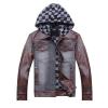 供应2012 秋装韩版修身男式外套 翻领带帽皮衣WMY-9917
