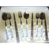 供应钛餐具青花瓷把全钛组合餐具9件套批发