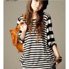 韩版条纹T恤宽松蝙蝠袖T恤个性拼接中袖套头衫LM29217