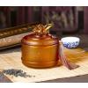 供应八骏图琉璃茶叶罐,百福茶叶罐,琉璃茶叶罐,琉璃艺术品摆件