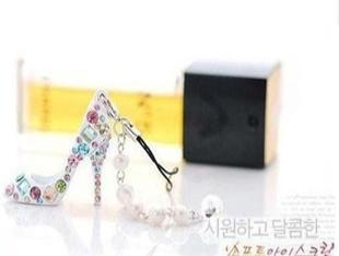彩钻黑色水晶高跟鞋串珠吊坠挂链 手机链C2846