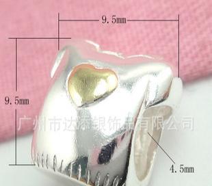 供应PDL2164 纯银心形衣潘多拉饰品 纯银镀黄金首饰 925银配件