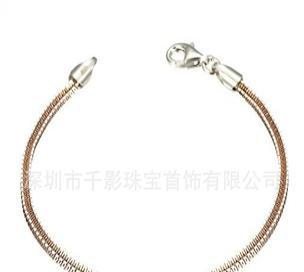 千影 S925银手链 纯银手链 素银手链 电镀黄金手链 纯银首饰批发