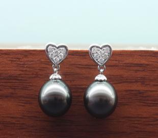 大溪地黑珍珠耳环 珍珠耳环 18K 批发 心型耳环E001919【黑白金】