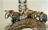 批发窑变釉陶瓷工艺品 烟枪上的三只大象 泰国吉祥大象家居摆设