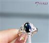 简约时尚美 18K白金镶天然优质蓝宝石戒指  女戒 KLJ060804