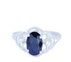 时尚戒指 18K白金镶天然蓝宝石戒指 女戒婚戒 魅力女款