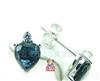 正品宝石首饰 天然蓝宝石心形耳钉,18K金饰品