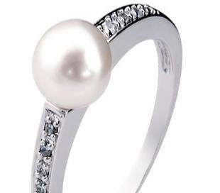 925纯银镀白金镶 天然珍珠戒指SR1203PL   珠宝首饰韩版批发