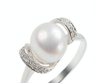 925银镀白金珍珠戒指SR1041PL  珍珠手饰  珠宝首饰免费加盟