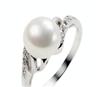 珠宝首饰 925银镀白金珍珠戒指SR1045PL 大粒珍珠