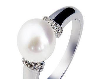 珠宝首饰 925银镀白金珍珠戒指SR1202PL 珍珠养颜