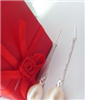 天然珍珠耳环批发 韩版7-8M水滴形白色天然珍珠925长款拉线耳环