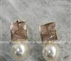 韩国明星饰品批发 方针珍珠耳钉 厂家直销 小额混批 加工 E50082