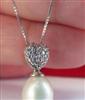特批P305 925银锆石桃心天然珍珠吊坠简约女性珍珠吊坠项坠 SUK