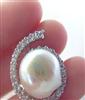 低价供应925银镶钻12-13M天然异形珍珠女式环形韩款项链项坠吊坠