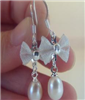 供应批发优质韩版韩式韩款白色蝴蝶型天然淡水珍珠耳环